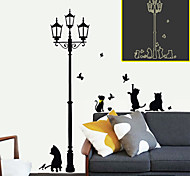 Cartoon Popular Luminous Lamp Cats PVC Wall Stickers Wall Art Decals