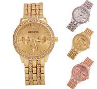 señoras elegantes 'Rose reloj de oro con diamantes cristalinas