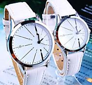 relojes de la pareja simples y casuales ronda de cuarzo de moda cinturón de línea (colores surtidos)