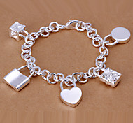 New Individual Women's Five Locks Copper Silver Plated Chain & Link Bracelet(Silver)(1Pc)