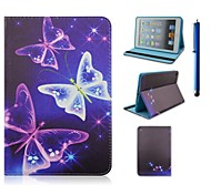 7.9 Inch Butterfly Pattern PU Leather Case with Stand and Pen for iPad mini 1/2/3