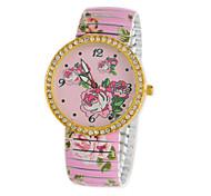style de mode de diamants impression de fleurs de charme des femmes montre-bracelet quartz rose analogique