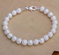 Lureme® Fashion 925 Silver Plated 8MM Dull Beads Strand Bracelets