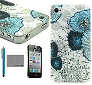 coco fun® fiore blu di viti modello tpu caso della copertura posteriore con la protezione dello schermo e lo stilo per iPhone 4 / 4S