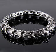 Toonykelly Fashion 22CM Men's Stainless Steel Silver Dragon Bracelet(Silver)(1PC)