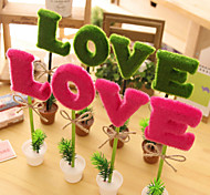 4 PCS Creative Flower Pot LOVE Shape Ballpoint Pens