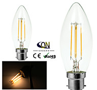 ONDENN B22 4 W 4 COB 400 LM 2800-3200K K Warm White A Dimmable Candle Bulbs AC 220-240/AC 110-130 V