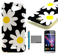 COCO FUN® Yellow Daisy Pattern Soft TPU Back Case Cover with Screen Protector and Stylus for Wiko Barry