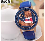Children's Lovely Little Bear Clever Flip Quartz Analog Leather Bracelet Watch(Assorted Colors)