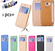 DF Touch View Flip Back Transparent Full Body Case & Dust Plug  for Samsung Galaxy S6