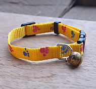 Super Cute Cat Adjustable Collars With Bells / Mini Dog Collar/Puppies Collar (Yellow)