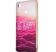 Be Happy Pattern Gold Metal Frame Plastic Back Cover Hard Case for Sony Z3