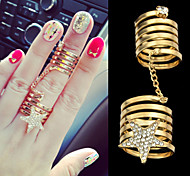2015 Latest Design Double Finger Connected Gold Plated Ring