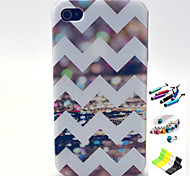 Stripe Pattern with Stylus ,Anti-Dust Plug and Stand TPU Soft Case for iPhone 4/4S