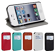 iCoverCase® PU Leather Ultra-thin Flip Cover Lichee View Window Case with Stand for iPhone 4/4S(Assorted Colors)