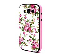 2-in-1 Pink Rose Peony Pattern TPU Back Cover with PC Bumper Shockproof Soft Case for Grand Neo i9060/i9082