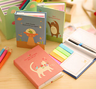 Hard Notepad Lovely Animal Cute/Business/Multifunction Paper Self-Stick Notes With Pen (Random Color)