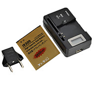 "YI-YI™ Rechargeable 2850mAh Replacement Battery with EU Plug 0.8"" LCD Battery Charger for Samsung Galaxy S3 I9300"