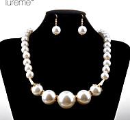 Lureme®Fashion Pearl Acrylic Horn Jewelry Sets