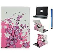 9,7 pouces de 360 degrés de rotation motif de fleur avec le cas de stand et stylo pour ipad air 2 / ipad 6