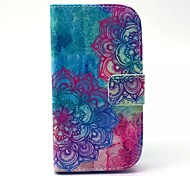 Color Man-eater FlowerPattern PU Leather Case with Stand for Samsung Galaxy S3 MINI I8190