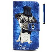 Dog Pattern PU Wallet Leather Case with Stand and Pen for Wiko Rainbow