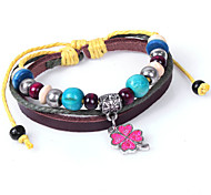 2015 Lucky Clover Wooden Beads Are Genuine Leather Bracelet