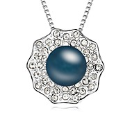 Yearn Day And Night Short Necklace Plated with 18K True Platinum Dark Grey Crystallized Austrian Crystal Stones