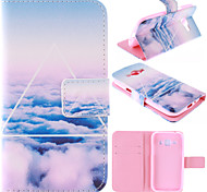 Only Beautiful Cloud Design PU Leather Stand Case with Card Slot for Samsung Galaxy J1