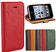 schors grain lederen full body cover met standaard en case voor de iPhone 4 / 4s