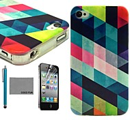 COCO FUN® Colorful Diamond Pattern Soft TPU Back Case Cover with Screen Protector and Stylus for iPhone 4/4S