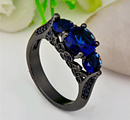 High Quality Fashion Women's Black Gold 10 KT Dark Blue Three Round Drill Zircon Ring