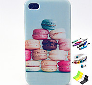 Hamburger Pattern with Stylus ,Anti-Dust Plug and Stand TPU Soft Case for iPhone 4/4S
