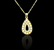 18K Real Gold Plated Pearl Drops Pendant Necklace