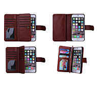 Solid Color Wallet Case Wrist Strap Genuine Leather Full Body Cases with 9 Card Slots for iPhone 6s 6 Plus