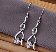 Diamond Zircon  925 Silver Drop Earrings(2Pc)