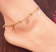 Women's Simple Palm Pendant Copper Beads Chain Beach Yoga Anklet