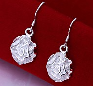 European Classic Rose 925 Silver Drop Earrings(2Pc)