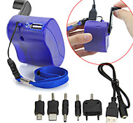 Portable Dynamo Hand Crank USB Cell Phone Emergency Charger For Travel Outdoors with Charging Cable + Adapters