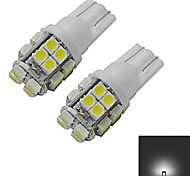 JIAWEN® 2pcs T10 1.2W 20X3528SMD 85LM 6000-6500K Cool White Inverted Side Wedge Light LED Car Lights (DC 12V)