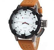 Herren-militärischen Design schwarz Fall khaki Lederband Quarz-Armbanduhr