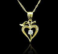 18K Real Gold Plated Heart Zircon Pendant 2*3.2CM