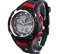 couleurs assorties des enfants time100 cadran rond bracelet pu LCD multifonctionnel sportives double affichage montres numériques