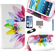 COCO FUN® Colorful Sunflower Pattern PU Leather Case with Film and USB Cable and Stylus for Samsung Galaxy S3 I9300