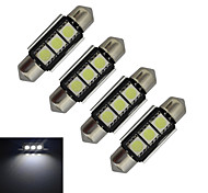 JIAWEN® 4pcs Festoon 36mm 1W 3x5050SMD 60-70LM 6000-6500K Cool White Light LED Car Light (DC 12V)