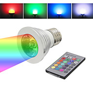 E27 3W 1-LED Multi-Colored RGB Light Bulb w/ Remote Control (AC 85~265V)