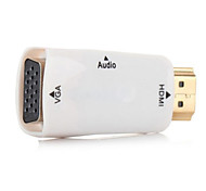 White HDMI to VGA output Video adapter with 3.5mm Audio cable For Apple TV & projector & monitor