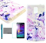 coco Fun® Leben ist schön Muster weichen tpu Fallabdeckung mit Displayschutzfolie und Stylus für Samsung Galaxy Note 4
