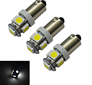 JIAWEN® 3pcs BA9S 1W 5X5050SMD 70-100LM 6000-6500K Cool White  LED Car Light (DC 12V)