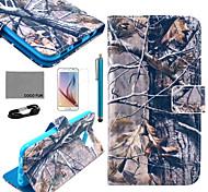 padrão ramo cinzento estojo de couro pu Coco fun® com filme e cabo USB e caneta para Samsung Galaxy S6